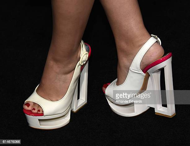 Actress Christina DeRosa shoe detail arrives at the premiere of Lionsgate's American Pastoral on October 13 2016 in Beverly Hills California