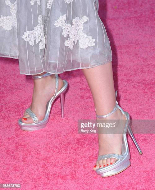 Actress Christina DeRosa shoe detail attends the premiere of STX Entertainment's' 'Bad Moms' at Mann Village Theatre on July 26 2016 in Westwood...