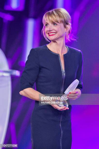 Actress Christina Grosse, winner of Best Innovation for TV series 'Das Institut' at the 22nd Annual German Comedy Awards at Studio in Koeln Muehlheim...