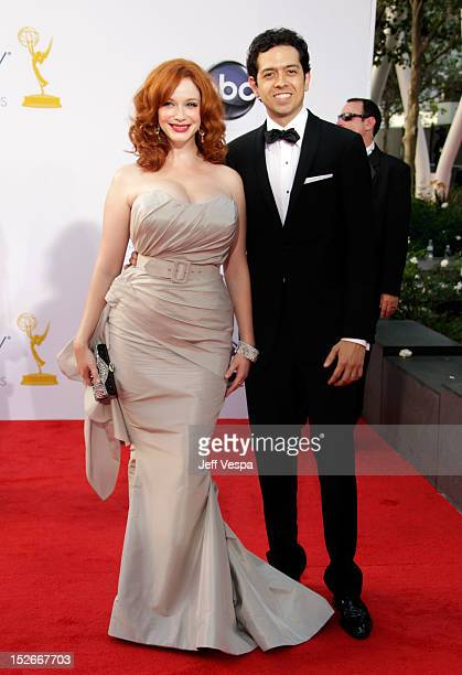 Actress Christina Hendricks and actor Geoffrey Arend arrives at the 64th Primetime Emmy Awards at Nokia Theatre LA Live on September 23 2012 in Los...