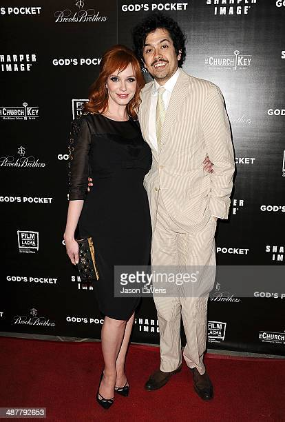 Actress Christina Hendricks and actor Geoffrey Arend attend the premiere of God's Pocket at LACMA on May 1 2014 in Los Angeles California