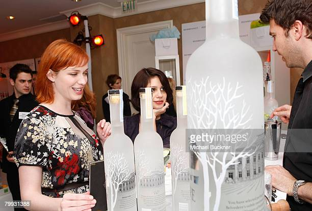 Actress Christina Hendricks and Actress Tamara Mello attends The Belvedere Luxury Lounge in honor of the 80th Academy Awards featuring Belvedere...