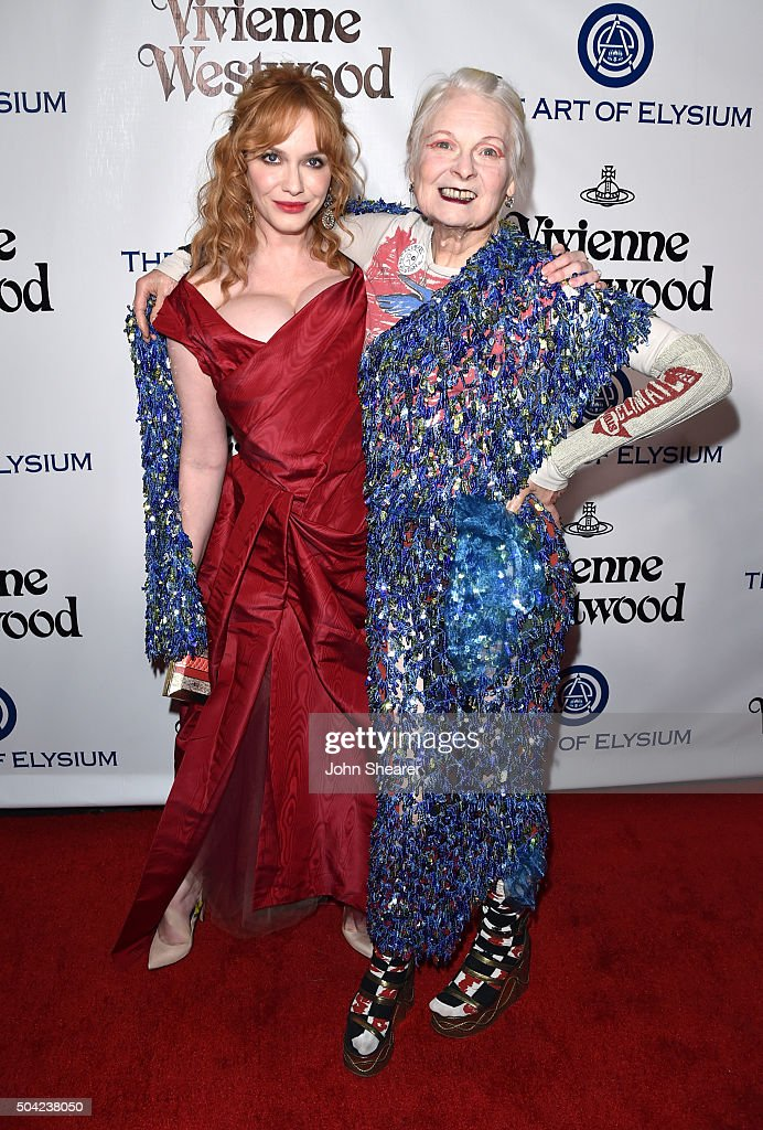 Actress Christina Hendricks (L) and fashion designer Vivienne Westwood attend The Art of Elysium 2016 HEAVEN Gala presented by Vivienne Westwood & Andreas Kronthaler at 3LABS on January 9, 2016 in Culver City, California.