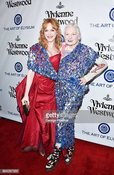 Actress Christina Hendricks and gala creative visionary Vivienne Westwood attend the Art of Elysium 2016 HEAVEN Gala presented by Vivienne Westwood...