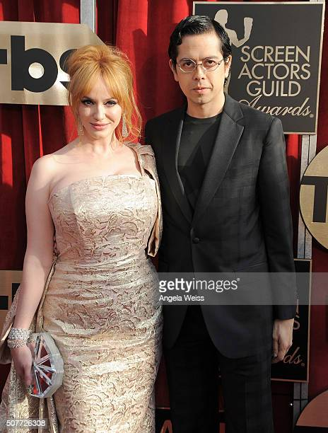 Actress Christina Hendricks and Geoffrey Arend attend the 22nd Annual Screen Actors Guild Awards at The Shrine Auditorium on January 30 2016 in Los...