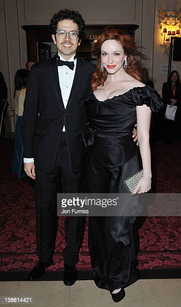 Actress Christina Hendricks and Geoffrey Arend attend the Orange British Academy Film Awards 2012 at the Royal Opera House on February 12 2012 in...