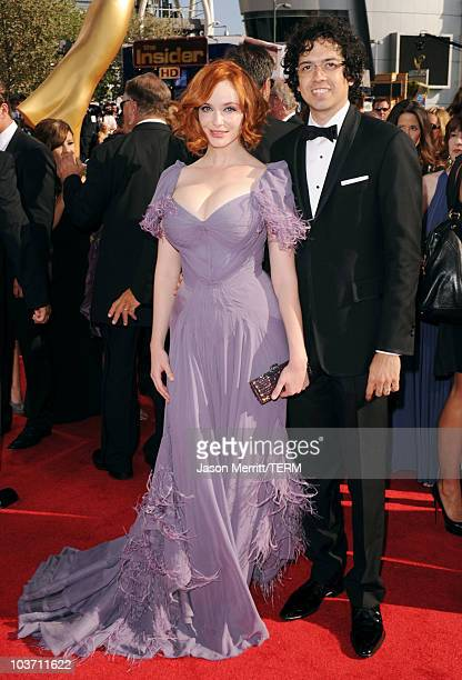 Actress Christina Hendricks and husband Geoffrey Arend arrive at the 62nd Annual Primetime Emmy Awards held at the Nokia Theatre LA Live on August 29...