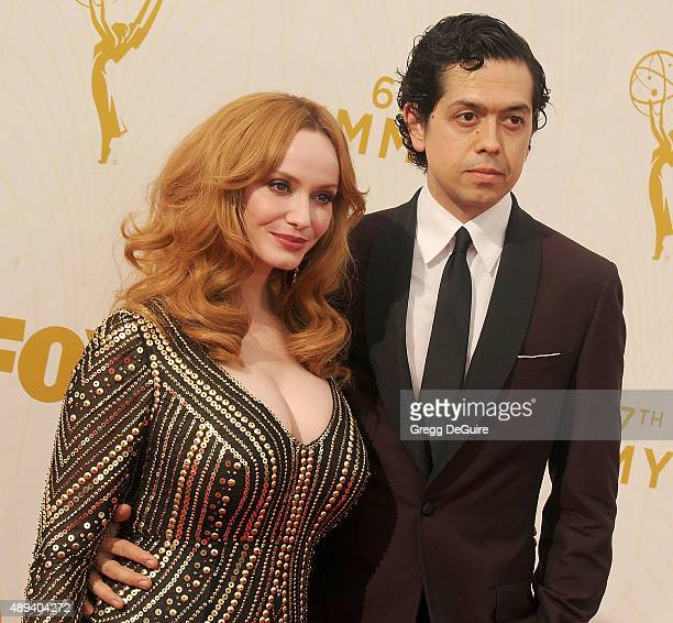 Actress Christina Hendricks and husband Geoffrey Arend arrive at the 67th Annual Primetime Emmy Awards at Microsoft Theater on September 20, 2015 in...