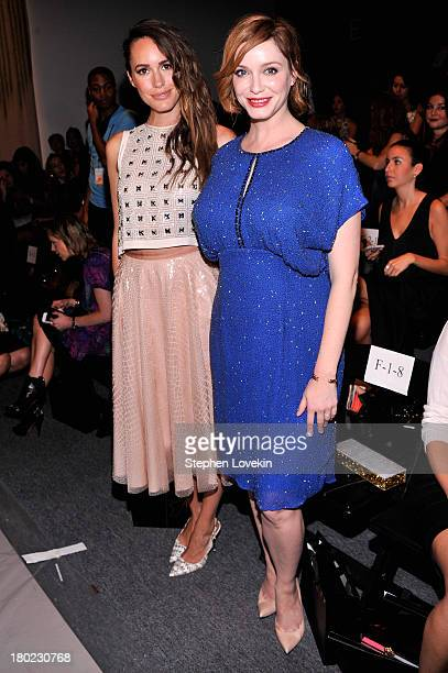 Actress Christina Hendricks and Louise Roe attend the Jenny Packham fashion show during MercedesBenz Fashion Week Spring 2014 at The Studio at...