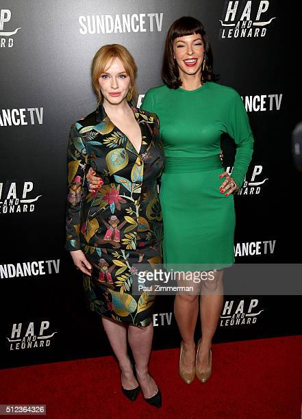 Actress Christina Hendricks and model/actress Pollyanna McIntosh attend 'Hap And Leonard' Private Premiere Party at Hill Country BBQ on February 25...