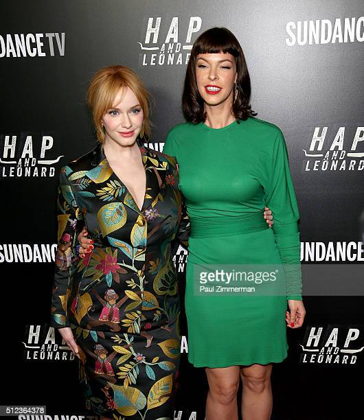 Actress Christina Hendricks and model/actress Pollyanna McIntosh attend Hap And Leonard Private Premiere Party at Hill Country BBQ on February 25...
