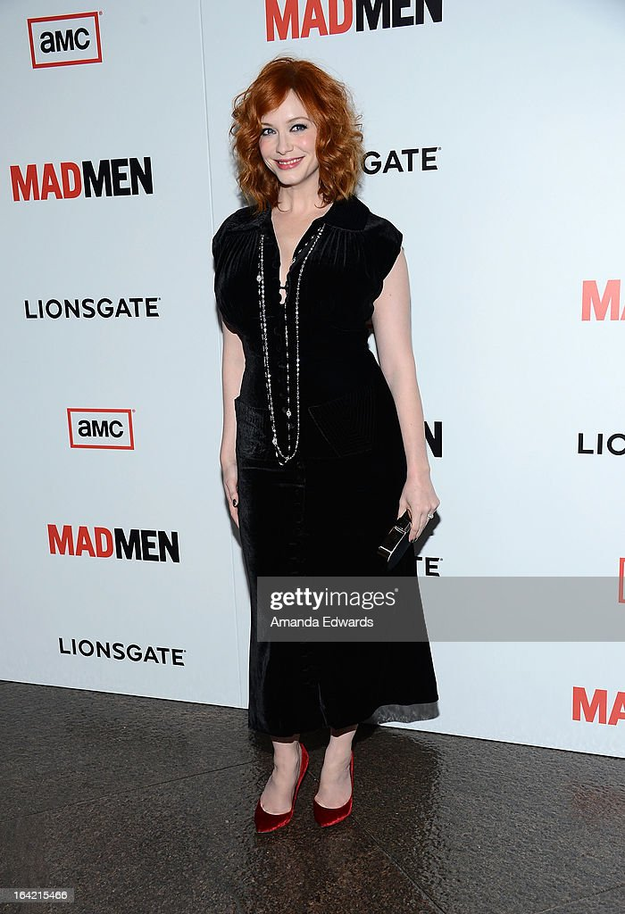 Actress Christina Hendricks arrives at AMC's 'Mad Men' Season 6 Premiere at the DGA Theater on March 20, 2013 in Los Angeles, California.