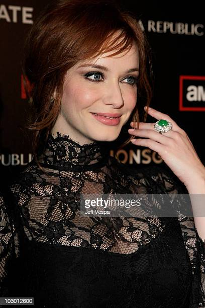 Actress Christina Hendricks arrives at AMC's season 4 premiere of 'Mad Men' held at Mann's Chinese 6 Cinemas on July 20 2010 in Los Angeles California
