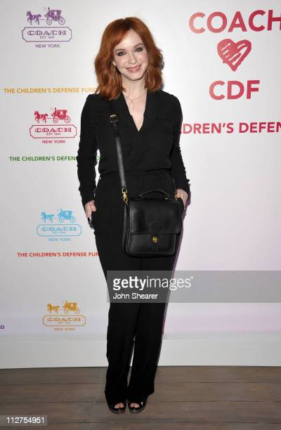Actress Christina Hendricks arrives at an Evening of Cocktails and Shopping to Benefit the Children's Defense Fund hosted by Coach at Bad Robot on...