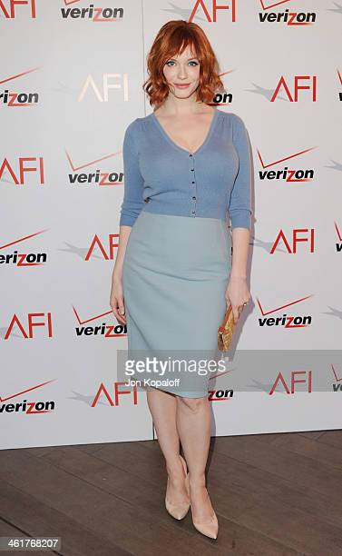 Actress Christina Hendricks arrives at the 14th Annual AFI Awards at Four Seasons Hotel Los Angeles at Beverly Hills on January 10 2014 in Beverly...