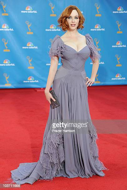 Actress Christina Hendricks arrives at the 62nd Annual Primetime Emmy Awards held at the Nokia Theatre LA Live on August 29 2010 in Los Angeles...