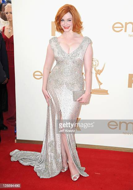 Actress Christina Hendricks arrives at the 63rd Primetime Emmy Awards at Nokia Theatre LA Live on September 18 2011 in Los Angeles California