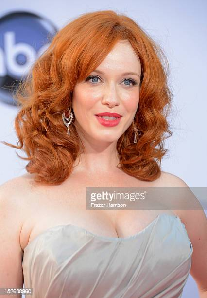 Actress Christina Hendricks arrives at the 64th Annual Primetime Emmy Awards at Nokia Theatre LA Live on September 23 2012 in Los Angeles California