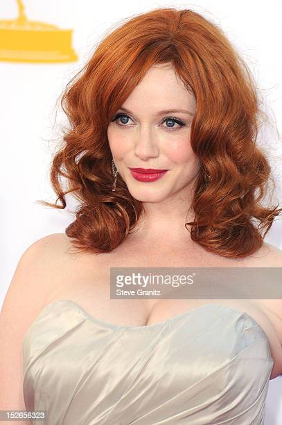Actress Christina Hendricks arrives at the 64th Primetime Emmy Awards at Nokia Theatre LA Live on September 23 2012 in Los Angeles California