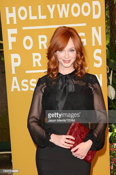 Actress Christina Hendricks arrives at the Hollywood Foreign Press Association's 2012 Installation Luncheon held at the Beverly Hills Hotel on August...