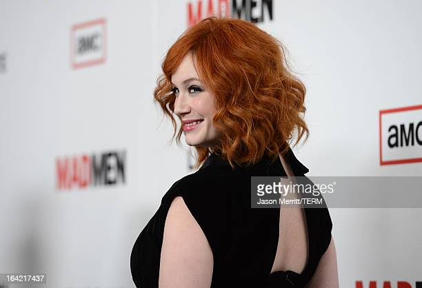 Actress Christina Hendricks arrives at the Premiere of AMC's 'Mad Men' Season 6 at DGA Theater on March 20 2013 in Los Angeles California