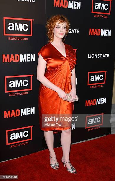 """Actress Christina Hendricks arrives at the premiere of """"Mad Men"""" Season 2 hosted by AMC held at the Egyptian Theatre on July 21, 2008 in Hollywood,..."""