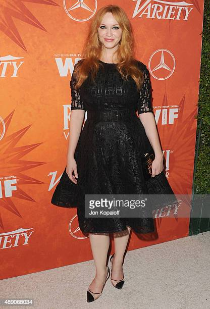 Actress Christina Hendricks arrives at the Variety And Women In Film Annual PreEmmy Celebration at Gracias Madre on September 18 2015 in West...
