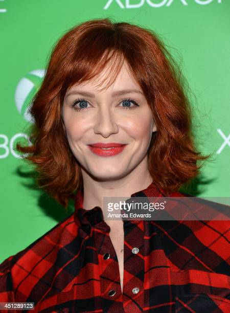 Actress Christina Hendricks arrives at the Xbox One official launch celebration at Milk Studios on November 21, 2013 in Hollywood, California.