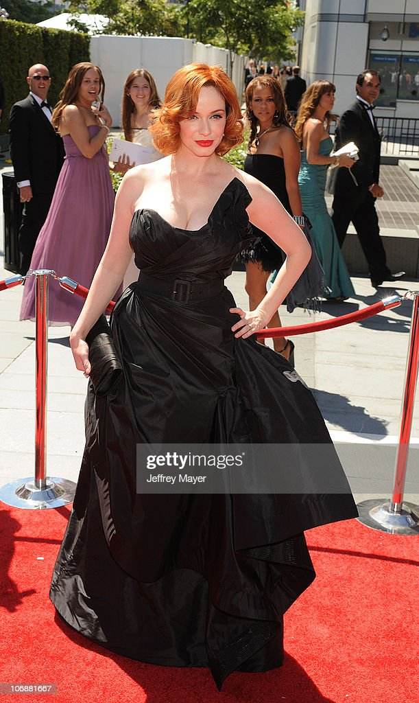 Actress Christina Hendricks arrives to the 2010 Creative Arts Emmy Awards at Nokia Plaza L.A. LIVE on August 21, 2010 in Los Angeles, California.