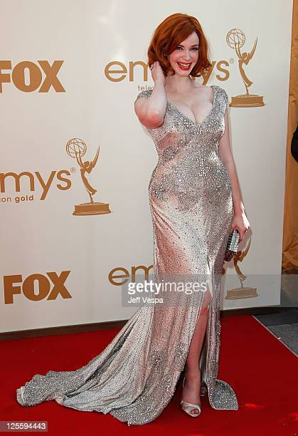Actress Christina Hendricks arrives to the 63rd Primetime Emmy Awards at the Nokia Theatre L.A. Live on September 18, 2011 in Los Angeles, United...