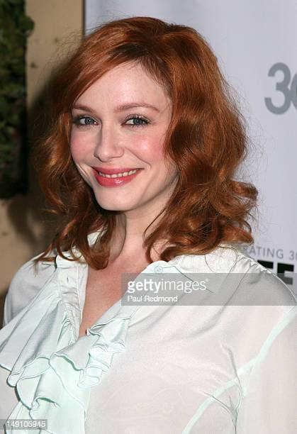 Actress Christina Hendricks attends 2012 Outfest Struck By Lightning premiere at John Anson Ford Theatre on July 22 2012 in Los Angeles California