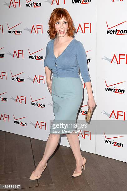 Actress Christina Hendricks attends the 14th annual AFI Awards Luncheon at the Four Seasons Hotel Beverly Hills on January 10 2014 in Beverly Hills...