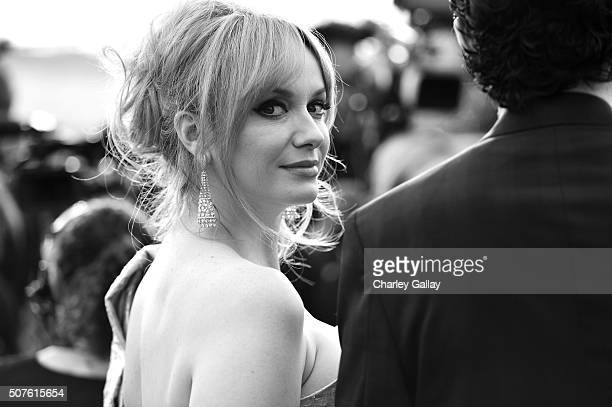 Image has been shot in black and white Color version not available Actress Christina Hendricks attends The 22nd Annual Screen Actors Guild Awards at...