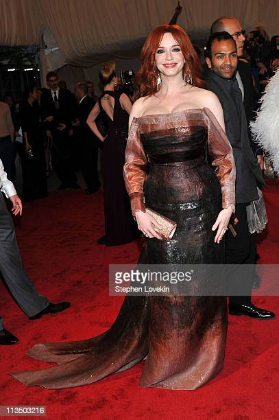 Actress Christina Hendricks attends the Alexander McQueen Savage Beauty Costume Institute Gala at The Metropolitan Museum of Art on May 2 2011 in New...