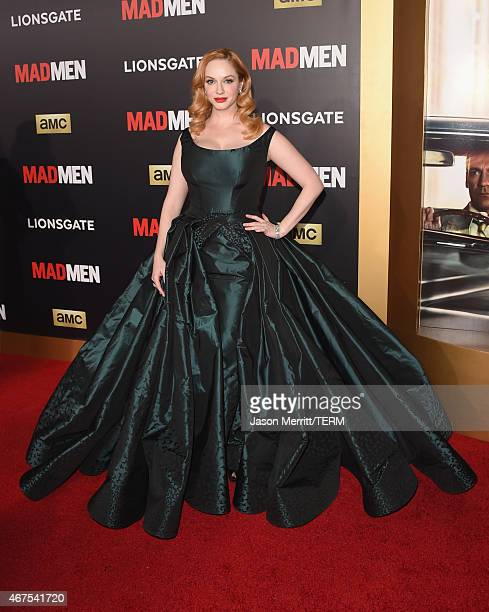 Actress Christina Hendricks attends the AMC celebration of the final 7 episodes of 'Mad Men' with the Black Red Ball at the Dorothy Chandler Pavilion...
