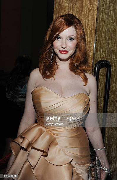 Actress Christina Hendricks attends the AMC Golden Globes Viewing Party at The Beverly Hilton Hotel on January 17 2010 in Beverly Hills California