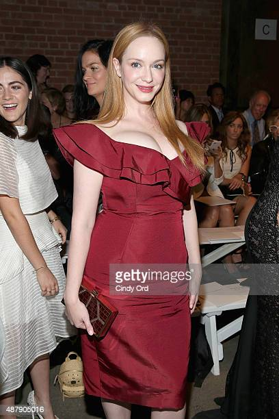 Actress Christina Hendricks attends the Christian Siriano Spring 2016 fashion show during New York Fashion Week at ArtBeam on September 12 2015 in...