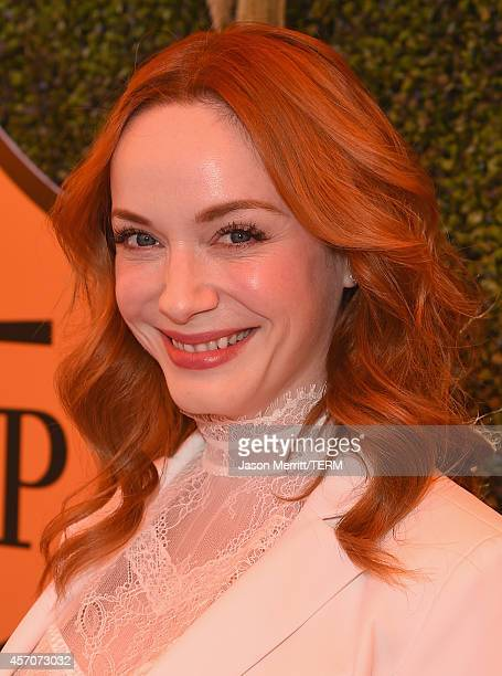 Actress Christina Hendricks attends the FifthAnnual Veuve Clicquot Polo Classic at Will Rogers State Historic Park on October 11 2014 in Pacific...