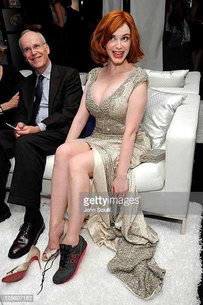 Actress Christina Hendricks attends The HP Touchsmart Gift Lounge backstage at the Nokia Theatre, in celebration of The 63rd Primetime Emmy Awards,...