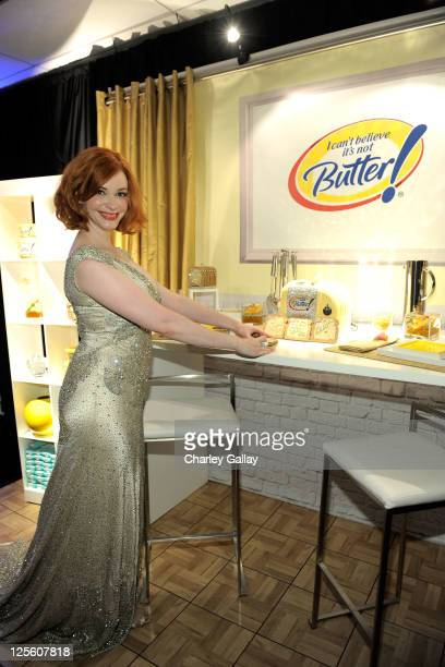 Actress Christina Hendricks attends the I Can't Believe It's Not Butter! Toast Bar in The HP Touchsmart Gift Lounge backstage at the Nokia Theatre,...