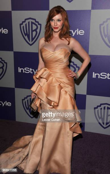 Actress Christina Hendricks attends the InStyle and Warner Bros 67th Annual Golden Globes post party held at the Oasis Courtyard at The Beverly...