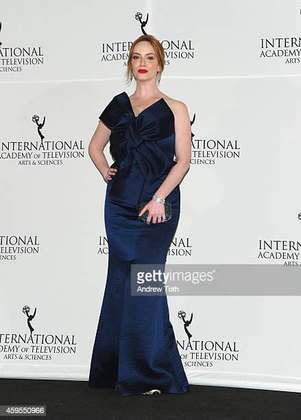 2014 Actress Christina Hendricks attends the International Academy of Television Arts Sciences Awards Press Room at New York Hilton on November 24...