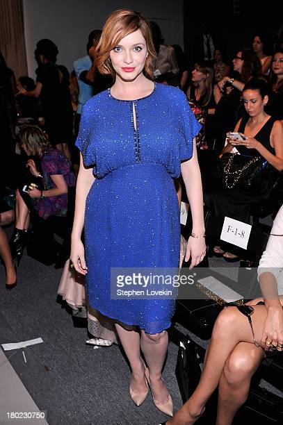 Actress Christina Hendricks attends the Jenny Packham fashion show during MercedesBenz Fashion Week Spring 2014 at The Studio at Lincoln Center on...