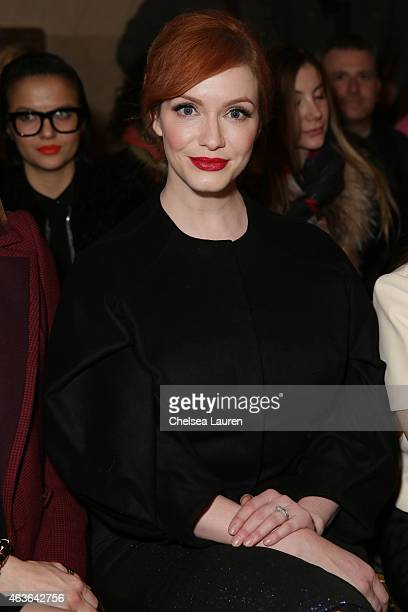 Actress Christina Hendricks attends the Zac Posen fashion show at Vanderbilt Hall at Grand Central Terminal on February 16 2015 in New York City
