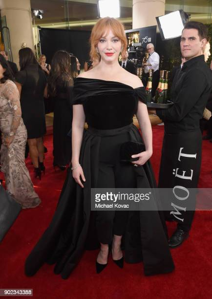 Actress Christina Hendricks celebrates The 75th Annual Golden Globe Awards with Moet Chandon at The Beverly Hilton Hotel on January 7 2018 in Beverly...