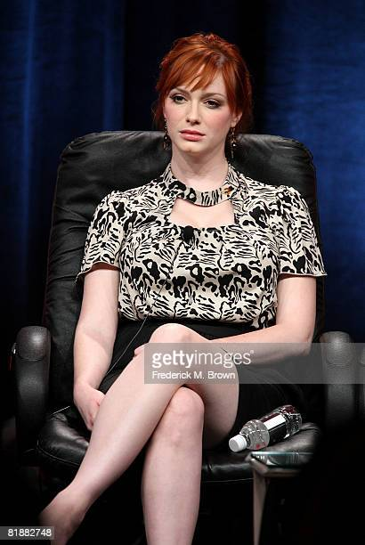 Actress Christina Hendricks of Mad Men speaks during day two of the AMC Channel 2008 Summer Television Critics Association Press Tour held at the...
