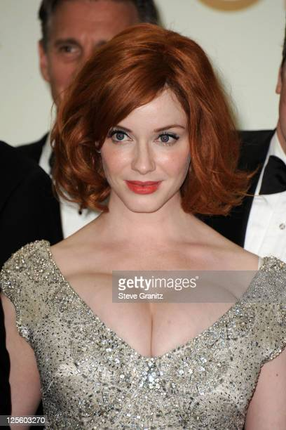 Actress Christina Hendricks poses in press room during the 63rd Primetime Emmy Awards at the Nokia Theatre LA Live on September 18 2011 in Los...