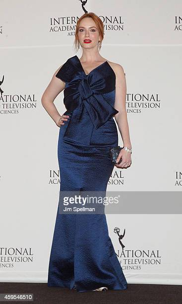 Actress Christina Hendricks poses in the press room at the 2014 International Academy Of Television Arts Sciences Awards at New York Hilton on...