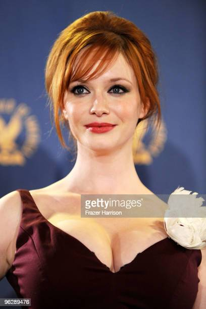 Actress Christina Hendricks poses in the press room during the 62nd Annual Directors Guild Of America Awards held at the Hyatt Regency Century Plaza...