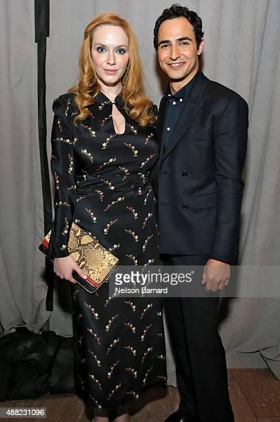 Actress Christina Hendricks poses with designer Zac Posen backstage at the Zac Posen Spring 2016 fashion show during New York Fashion Week at...